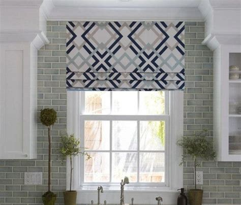 Gray And White Window Valance by Faux Shade Lined Mock Valance Geometric Print Navy