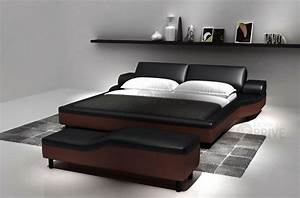 Lit En Cuir : lit en cuir italien de luxe athena noir et chocolat mobilier priv ~ Teatrodelosmanantiales.com Idées de Décoration