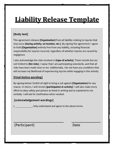 release of liability form template liability waiver template free word templates
