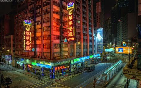 cityscapes streets buildings crossing hong kong city lights wallpapers hd desktop