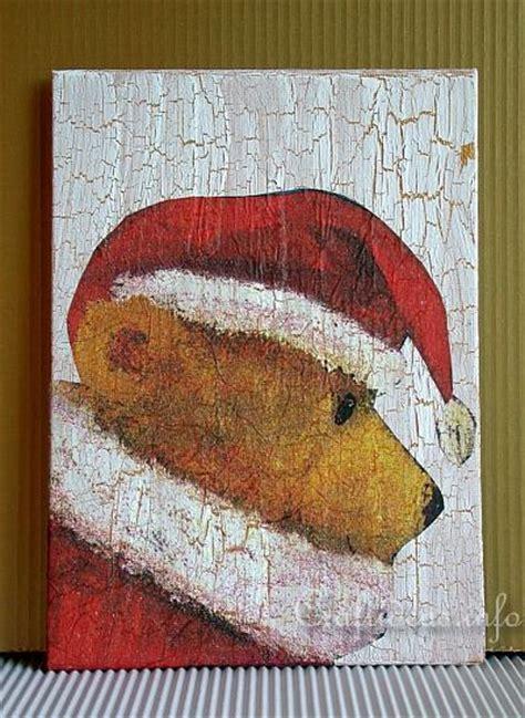 christmas craft project teddy bear santa painting