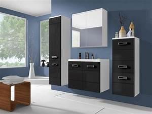 meuble de salle de bain vente unique ensemble clarence With meuble salle de bain noir laqué pas cher
