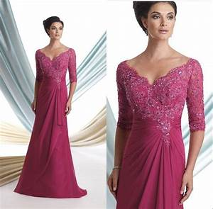 fuschia v neck mother of the bride dresses formal evening With formal wedding guest dress