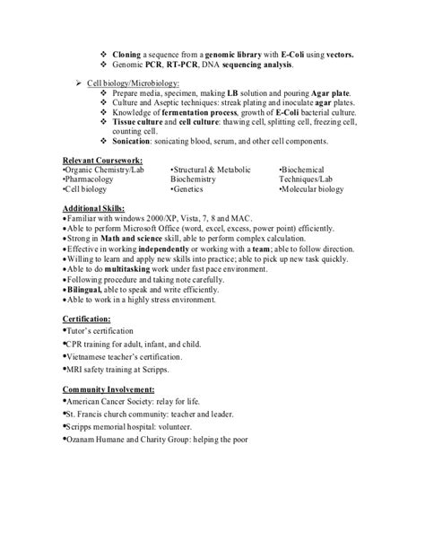 resume of anh q nguyen research associate biochemist in