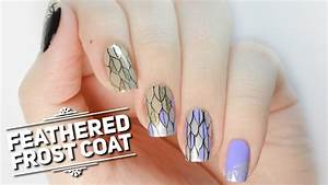 Feathered Frost Coat Nail Art Design