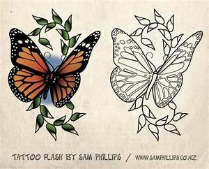 Colorful And Outline Ink Monarch Butterfly Stencil Tattoo ...