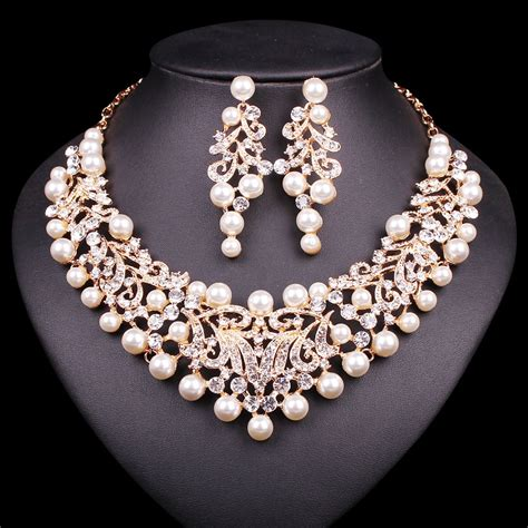 Bridal Jewelry by Fashion Pearl Statement Necklace Earrings Bridal Jewelry