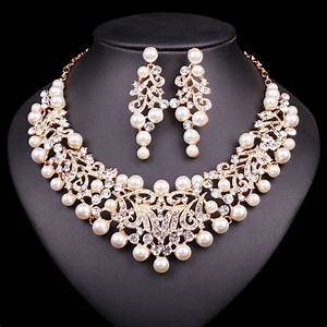 gold color imitation pearl wedding necklace earrings sets