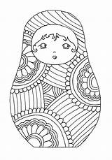 Russian Dolls Coloring Russia Adult sketch template