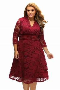 purplish red plus surplice neck ruched waist floral lace With achat robe guinguette