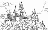 Castle Hogwarts Harry Coloring Potter Chateau Colouring Drawing Coloriage Coloringareas sketch template
