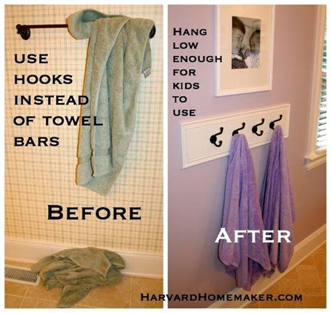 Where To Hang Towels In Small Bathroom by Use Hooks Hung Low Enough So Your Child Can Reach To Hang
