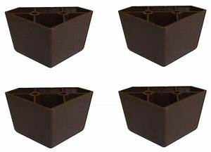 set of 4 universal dark brown plastic furniture triangle With sectional sofa replacement legs