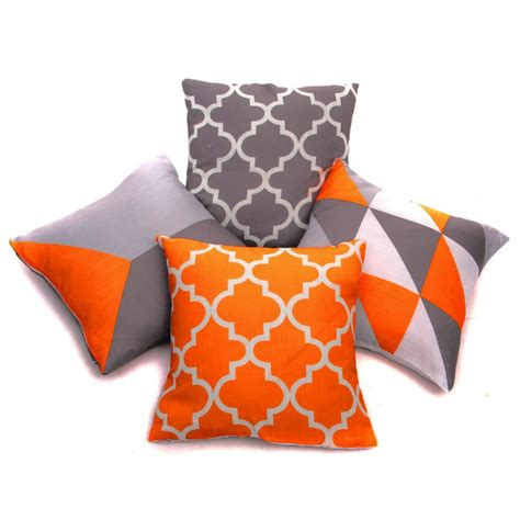 Orange Cusions by Collection Of 4 Designs Orange Grey Linen Geometric 18