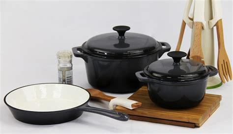 cookware sets fine living lifestyle cast iron set grey  piece  sold