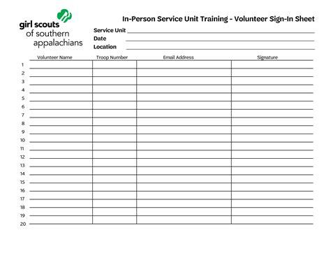 training volunteer sign  sheet templates