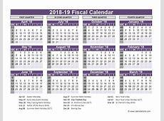 Fiscal Calendar 2018 2019 Template Free Calendar Template