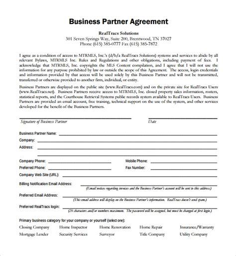 business partner agreements sample templates