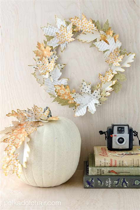 fall paper leaf autumn wreath diy craft decor leaves decorations crafts pumpkin thanksgiving projects everythingetsy adults tutorial cut decorate easy