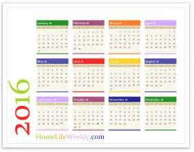 2016 12 Month Calendar Page Printable