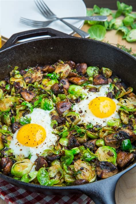 sweet potato  brussel spout hash topped  fried egg