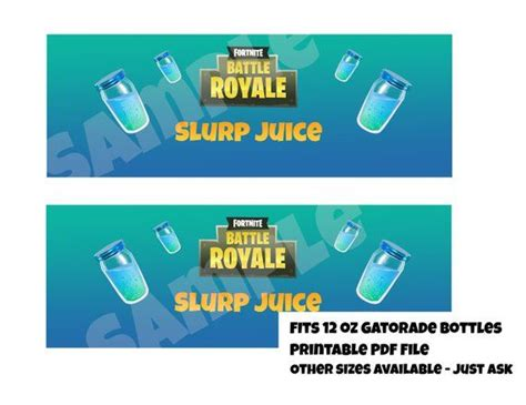 fortnite printable slurp juice labels   oz gatorade