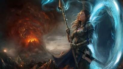 Fantasy Deviantart Wallpapers Mage Sorceress Artist Digital