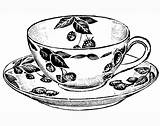 Tea Cup Coloring Drawing Teacup Printable Cups Coffee Sketch Adult Drawings Clipart Craft Teacups Amp Vector Draw Marigold Outline Sketches sketch template