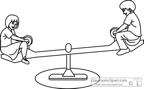 school playground clipart black and white school clipart kids on playground see saw outline