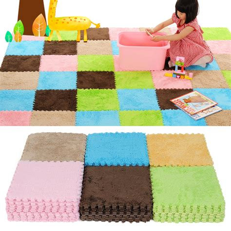 9pcs Interlocking Eva Foam Puzzle Floor Mats Tile Crawl