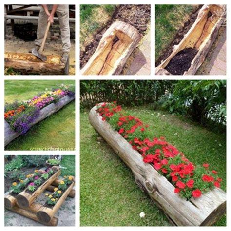 Garden Decoration Logs by Best 25 Log Planter Ideas On