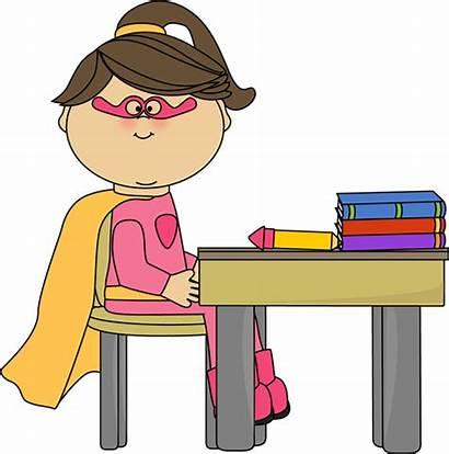 Table Clip Superhero Sit Desk Clipart Children