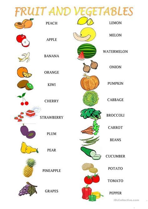 fruit and vegetables activities worksheet free esl