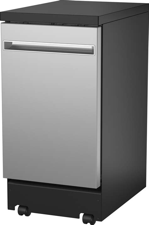 gptsslss ge   portable dishwasher stainless steel interior  door