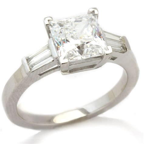 tapered baguette engagement ring princess cut baguettes engagement ring p3