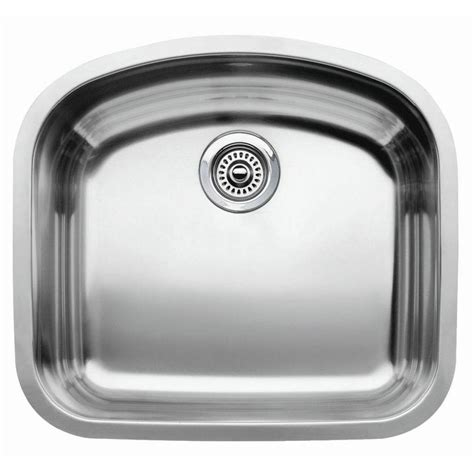 stainless steel single bowl undermount kitchen sink shop blanco wave 20 43 in x 22 43 in satin polished single