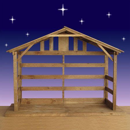 wood outdoor nativity stable   white pine  large