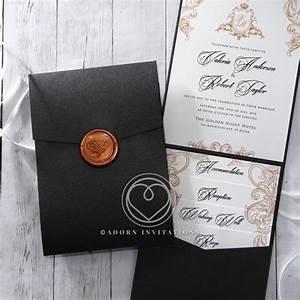 charcoal black pocket invitation monogrammed seal With plain pocketfold wedding invitations