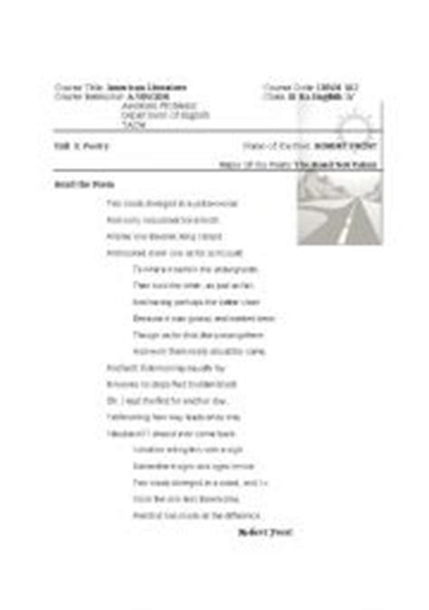 robert frost quot the road not taken quot lesson plan and
