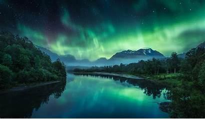 Night Aurora Nature Borealis Landscape Starry Mountains