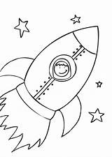 Rocket Coloring Ship Pages Printable sketch template