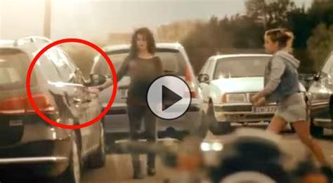 girls    smash  car window