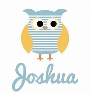 Boy's Name Blue Striped Owl Baby Bib   Personalised ...