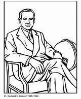 Hoover Herbert Coloring Presidents Usa President States United Printables 31st Go sketch template