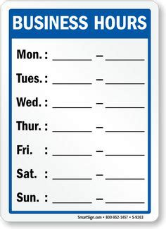 printable business hours sign irrigation store ideas