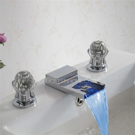 Vintage Three Hole 2 Handles Wide Spread Waterfall LED Faucets