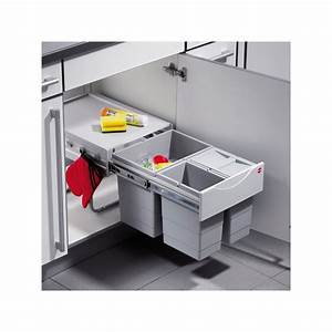 Poubelle Cuisine Sous Evier : poubelle coulissante 3 bacs 35l gris ~ Carolinahurricanesstore.com Idées de Décoration