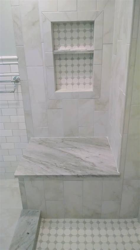 faux marble tile nailedit master bathroom reveal marble look tile faux marble tile 6x24 tile vertically