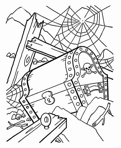 Pirate Coloring Cartoon Treasure Chest Pages Pirates