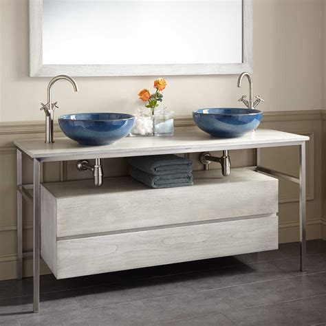 60 quot roeding teak vessel sink vanity light gray